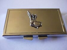 Scottish Bagpipes w37 English Pewter On Mirrored 7 Day Pill box Compact