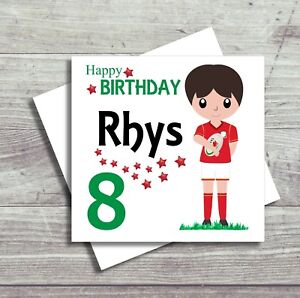 Rugby Birthday Card For Boy Personalised Son Grandson Nephew Welsh Rugby Card