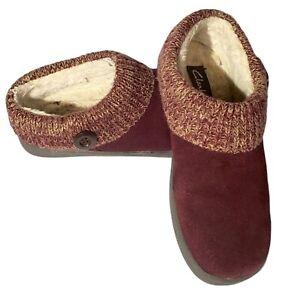 Clarks Women's Knit Scuff Slipper Mule Berry Color Sweater Collar US Size 9