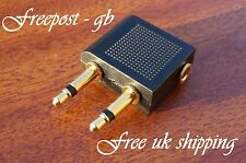 GOLD AIRCRAFT/ AEROPLANE HEADPHONE ADAPTER- USE YOUR OWN EARPHONES ON THE FLIGHT