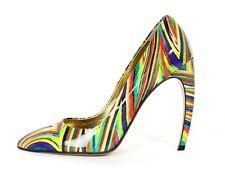 WALTER STEIGER Multi-Color Rainbow Swirl Patent Leather Heels Pumps 39 NEW