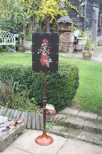 Victorian adjustable height Mahogany Pole Screen,embroidered applique firescreen