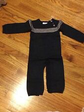 Wheat baby boy navy knit sweater one piece 12m pre owned mint condition
