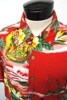RARE! VTG Kennington Red Hula Girl Hawaiian camp shirt sz XL mens S/S#1481