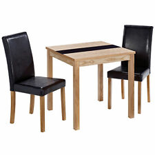 Real Ash Veneer Square Dining Table and Chair Set with 2 Black Leather Seats