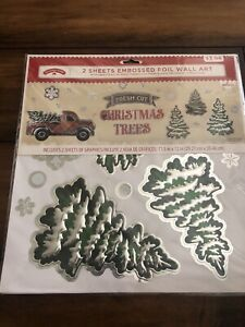 Red Truck Christmas Wall Art Clings 🌲 Foil
