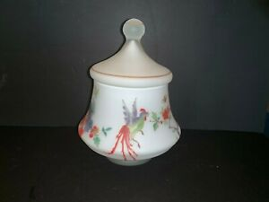 Vintage satin glass Apothecary jar urn hand painted Asian Flowers Rooster Bird