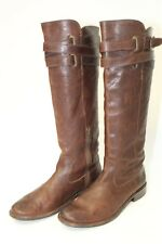 Frye Womens 8.5 B Shirley Strappy Tall Dark Brown Leather Riding Boots 77750 hc