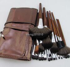 24PCS PRO Brown make up kit makeup brushes makeup brush set with roll up bag