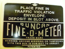Duncan Parking Meter Fine Box Decal