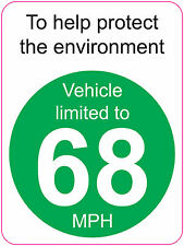[ 120x160mm ] LIMITED TO 68 MPH | TO HELP PROTECT THE ENVIRONMENT - VAN/WAGGON