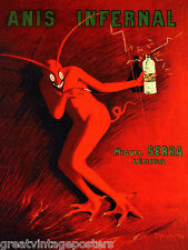 ANIS INFERNAL MIGUEL SERRA RED DEVIL ALCOHOL DRINK CAPPIELLO VINTAGE POSTER REPO