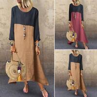 ZANZEA Women Long Sleeve Cotton Maxi Party Dress Ladies Casual Baggy Shirt Dress