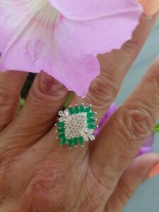 Marquise Cut Natural Emerald W/Topaz Cluster Ring, Sterling silver, Size 9