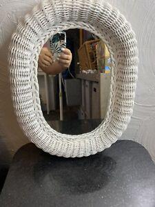 "EUC Vintage Shabby Chic White Wicker Mirror 16""x12"" Wall Mirror"