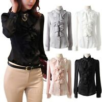 Long Sleeve Blouse Womens Victorian Silky Satin Shirt Ladies elegant Top Size