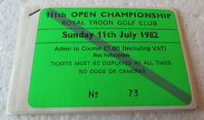 COLORFUL SET 8 UNUSED PEEL OFF TICKETS-1982 OPEN CHAMPIONSHIP-TOM WATSON'S 4TH