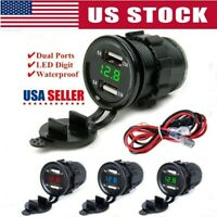 US 12/24V 4.2A Dual 2USB Car Motor Charger Socket Adapter Outlet LED Voltmeter