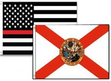 3x5 Usa Thin Red Line Florida State 2 Pack Flag Wholesale Set Combo 3'x5'