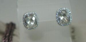 David Yurman 925 Silver 14k Gold White Topaz Diamond Noblesse Earrings Pouch