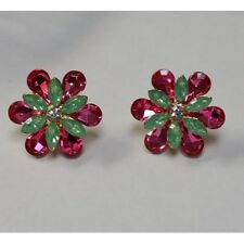 """1.25"""" Flower Design Pink and Green Post Stud Earrings"""
