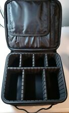 Professional Leather Cosmetics Case With Adjustable Dividers & Brush Holders