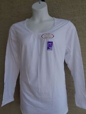NWT Just My Size 5X Comfort Blend Shirred Scoop-Neck L/S Tee Top White
