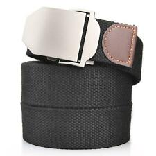 Mens black canvas strap web military waist belt Casual/Sport/Hiking Metal buckle
