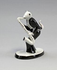 9986194 Porzellan Figur Katze Saxophon Musiker 50er Jahre Stil H13,5cm