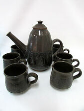 PNG PAPUA NEW GUINEA POTTERY TEA SET COFFEE SIGNED TO BASE STUDIO WARE ARTIST
