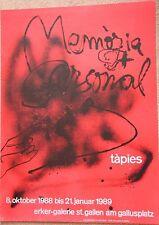 ANTONI TAPIES Affiche lithographie poster Memoria Personal 1988 ***