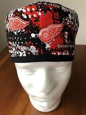 Detroit Red Wings Street Art Men's Surgical Scrub Hat - Skull Cap