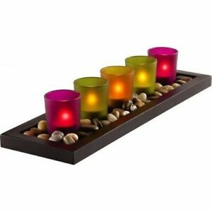 NEW 5 PIECES SERENITY ESSENCE JEWEL TONE CANDLE SET WITH GENUINE RIVER ROCKS