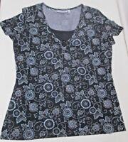 Croft & Barrow Top Small S Womens Blouse Shirt Short Sleeve Floral Black Blue