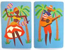 PAIR VINTAGE SWAP CARDS. RETRO CARIBBEAN LATIN DANCER WITH MARACAS & GUITARIST.