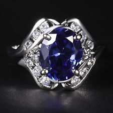 QCN23 Handmade 5.0CT Natural Sapphire 14K White Gold Ring Size US 7