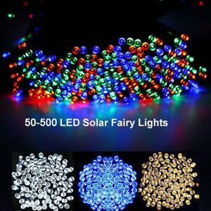 50-500LED Solar Power String Lights Retro Bulb Fairy Lamp Outdoor Garden Wedding