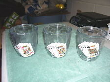 3 INSULATED POKER PLASTIC GLASSES--ROYAL FLUSH--CARD SUITS-TUMBLERS