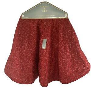 """Tinsel & Fir Designer Christmas Tree Skirt Red Embroidered 54"""" Holiday NEW"""