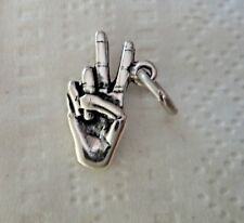 Sterling Silver 18x11mm Sign Language Hand Peace Sign Charm