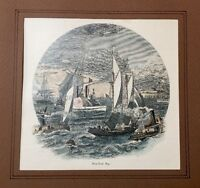 Genuine 1872 Antique 18th Century Print New York City Harbor Bay - Hudson River