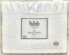 Piubelle Matelasse Ruffled Coverlet King 100% Cotton White Farmhouse Paisley New