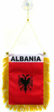 "Wholesale lot 3 Albania Mini Flag 4""x6"" Window Banner w/ suction cup"