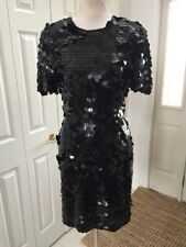Nadine Boutique Black Hand Beaded Big Sequin SS Dress Small