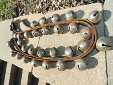 "VTG ANTIQUE HORSE SLEIGH 30 BELLS 84"" LEATHER STRAP BUCKLE PRIMITIVE VICTORIAN"