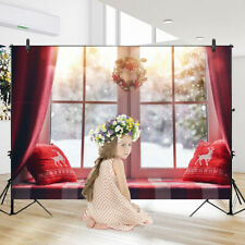 Christmas Photography Backdrops Glass Windows Garlands Photo Background Party