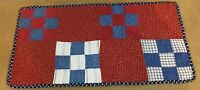 Antique Patchwork Quilt Table Topper, Nine Patch, Early Calico Prints, Checks