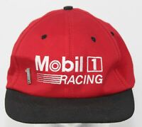 Vintage 1980s Mobil 1 Racing Hat w/ Hat Pin Red & Black Snapback Cap Made in USA