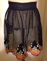 True Vintage Unused Black Chiffon Feel Floral One Size/Plus Size Half Apron