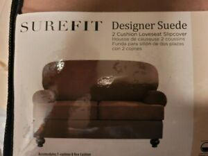 Sure Fit 2 Cushion Stretch  Loveseat Slipcover Designer Suede Taupe Color Faux